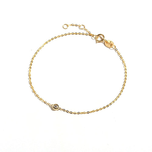 Line&Dots One-Diamond Gold Bracelet