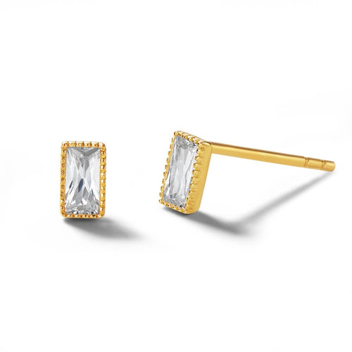 Emerald Cut 14K Solid Gold Stud Earrings