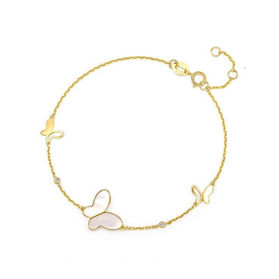 """Fairy Pearl"" 14K Mother Of Pearl Yellow Gold Butterfly Bracelet, 6+1"" Chain - FANCI ME"