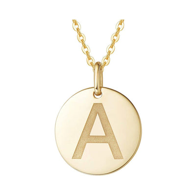 14K Yellow Gold Initial Monogram Letter Necklace - A