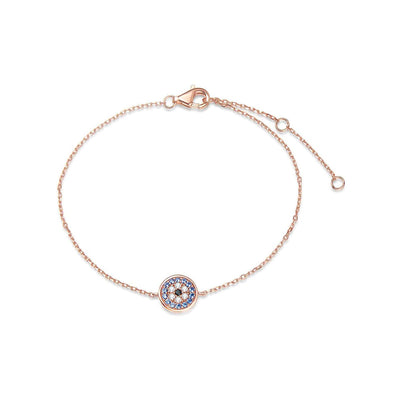 14k Solid Rose Gold Pave Round Stones Blue Evil Eye Round Disc Bracelet