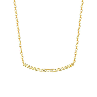 18K Rose/Yellow Gold Diamond-cut Bar Smile Pendant Necklace