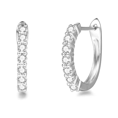 Moissanite 14k White Gold Hoop Earrings 0.20ct
