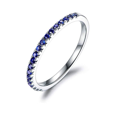 Line & Dots 14K Solid Gold Semi Eternity Blue Tsaverite Sapphire Wedding Band