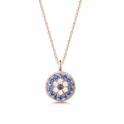 14K Rose Gold Evil Eye Circle Pendant for Coin Necklace