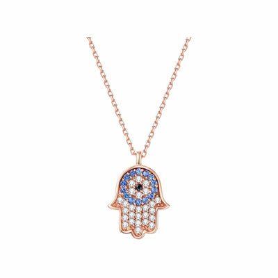 Cubic Zirconia Gemstone & 14K Rose Gold Evil Eye and Hamsa Pendant Necklace