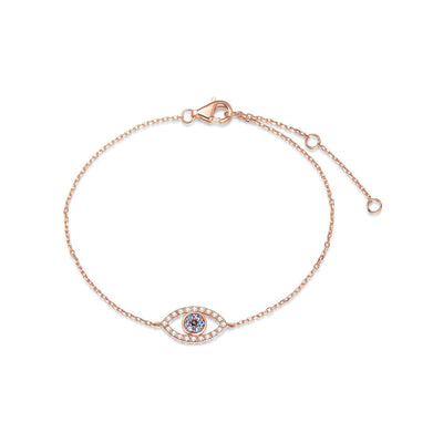 14K Rose Gold Evil Eye Bracelet with Cubic Zirconia  for Women