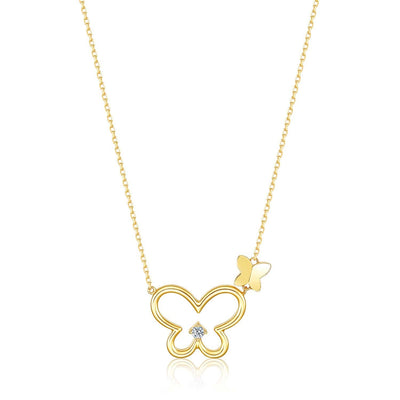 Diamond Butterfly Necklace in 14K Yellow Gold