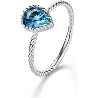 18K Solid White Gold Natural Blue Topaz Pear Shaped Ring