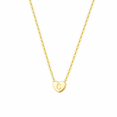 """C"" 14K Solid Yellow Gold Heart Initial Dainty Pendant Necklace"