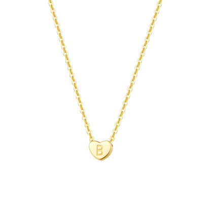 """B"" 14K Solid Yellow Gold Heart Initial Dainty Pendant Necklace"