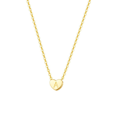 """A"" 14K Solid Yellow Gold Heart Initial Dainty Pendant Necklace"