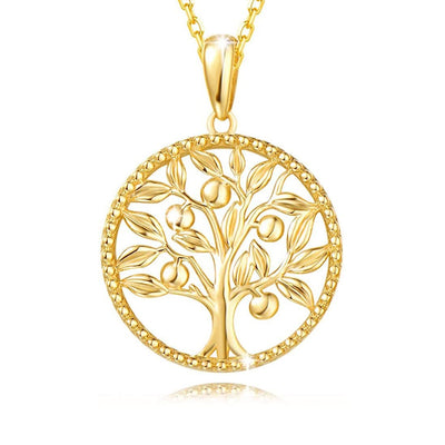 Agvana 14K Solid Yellow Gold Tree of Life Necklace