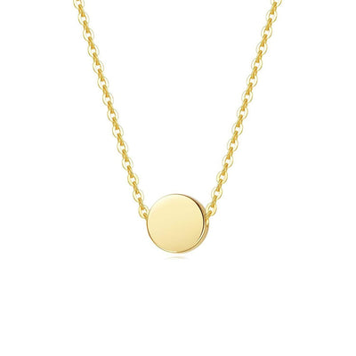 Tiny Minimalist Coin Necklace Pendant in 14K Yellow Gold