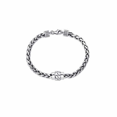"PATH Men's Sterling Silver Wheat Link Chain Bracelet 8"" Length"