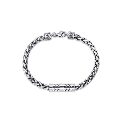 "DESTINATION Men's Sterling Silver Wheat Chain Bracelet 8"" Length"