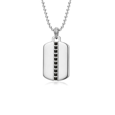 "Men's Sterling Silver Black Spinel Classic Chain Dog Tag Pendant 24"" Necklace"