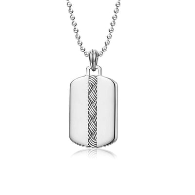 """Self-Identity"" Mens Dog Tag Necklace in Sterling Silver"