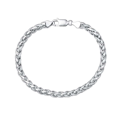 "Men's Sterling Silver Thick Wheat Link Bracelet 8"" Length"