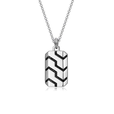 Men's Sterling Silver Black Spinel Classic Chain Dog Tag Pendant Necklace
