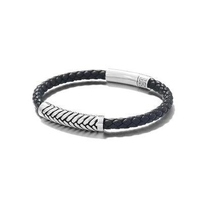 Footmark Sterling Silver Mens Braided Leather Bracelet - Black