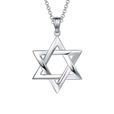 "Sterling Silver Star of David Pendant Necklace, 20"" Chain"