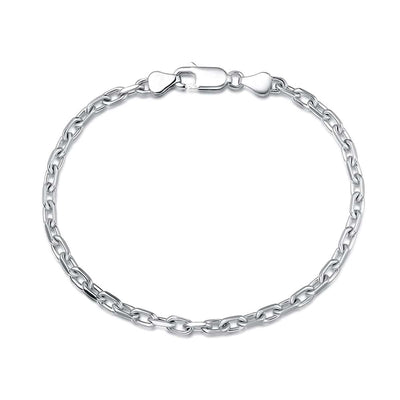 "Men's Oval Cable Chain Bracelet in Sterling Silver 8"" Length"