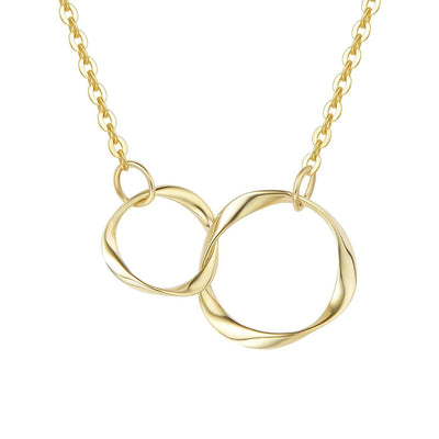 14K Solid Real Yellow Gold Two Interlocking Infinity Eternity Double Circles Necklace