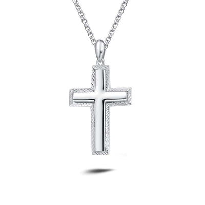 Mens 925 Sterling Silver Diamond Cut Cross Pendant 20""