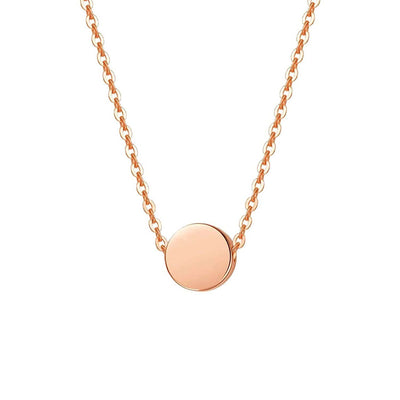 Tiny Minimalist Coin Necklace Pendant in 14K Rose Gold