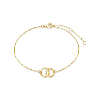 14k Solid Yellow Gold Two Circle Friendship Bracelet