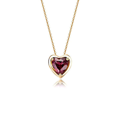 14K Gold Delicate Garnet Heart January Birthstone Pendant Necklace