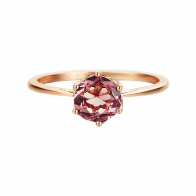 14k Rose Gold Pink Tourmaline Promise Engagement Ring