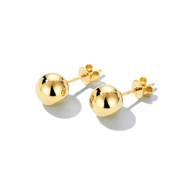6MM Ball Earring Studs In 14K Solid Yellow Gold - FANCI ME