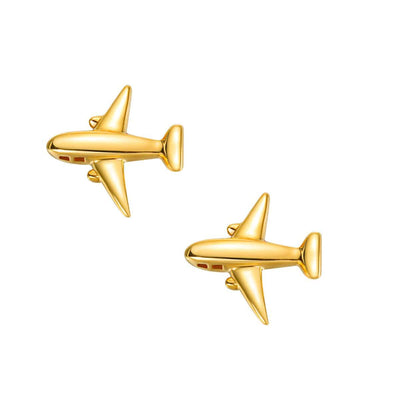 18K Airplane Solid Yellow Gold Tiny Cute Diamond Earring Studs - FANCI ME