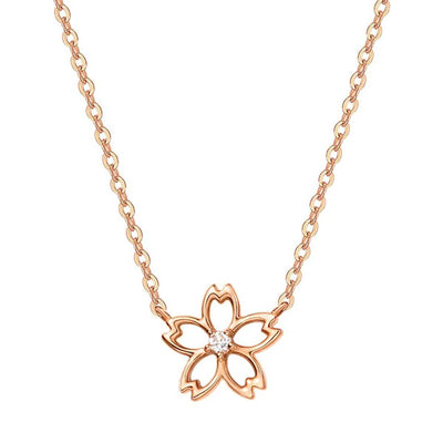 """Lia"" 14K Rose Gold Diamond Cute Cherry Blossom Flower Necklace - FANCI.ME"