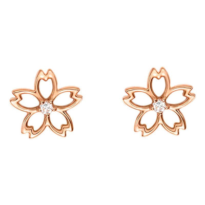 """Lia"" 14K Rose Gold Diamond Cute Cherry Blossom Flower Stud Earrings"