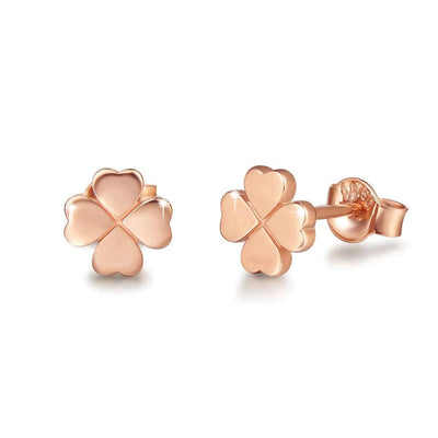 Tiny Clover Flower 18K Rose Gold Earring Studs - FANCI ME