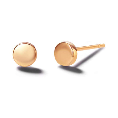 Tiny Dot 14K Rose Gold Round Disk Stud Earrings