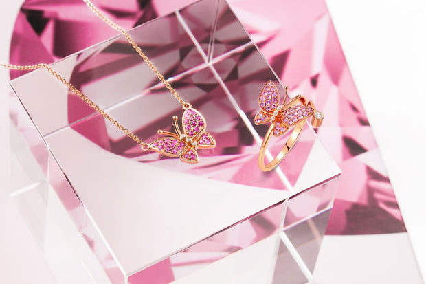 """Fairy Titania"" 18K Rose Gold Pink Sapphire Diamond Pave Butterfly Necklace"