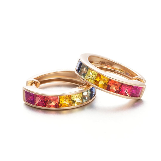 Rainbow Sapphire Crossover Gold Hoop Earrings