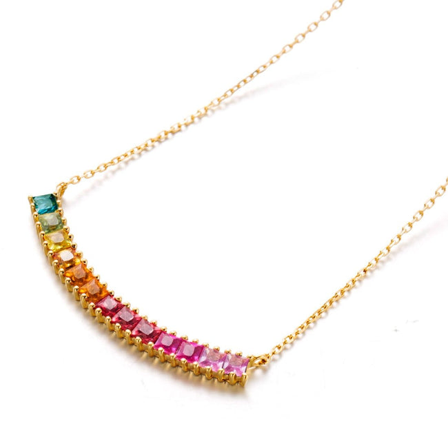 """Rainbow Smile"" Color Sapphire Pendant Necklace"