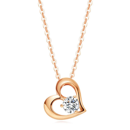 """Destiny"" 18k Gold Forever Love Open Heart Pendant Necklace - FANCI ME"