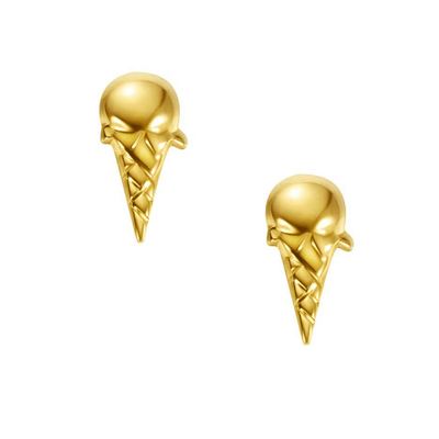 18K Ice Cream Solid Yellow Gold Tiny Cute Diamond Earring Studs - FANCI ME