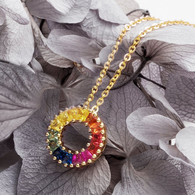 """Rainbow Ring"" Mini Diamond and Color Sapphire Pendant Necklace"