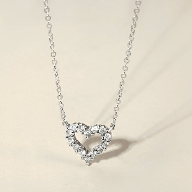 """Crystal Clear"" 18k White Gold Love Open Heart Diamond Pendant Necklace"