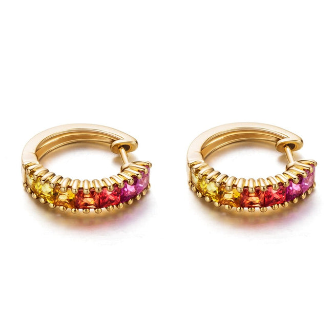 """Sunrise"" Color Sapphires Hoop Earrings"