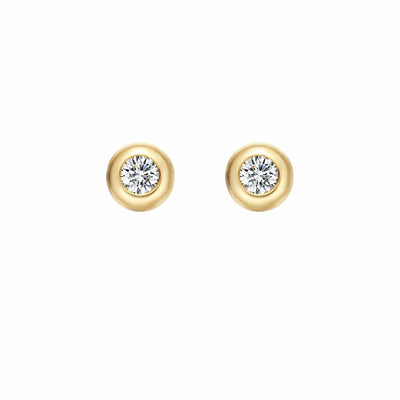 Mellow XS Round 18K Solid Gold Round Diamond Studs - FANCI ME