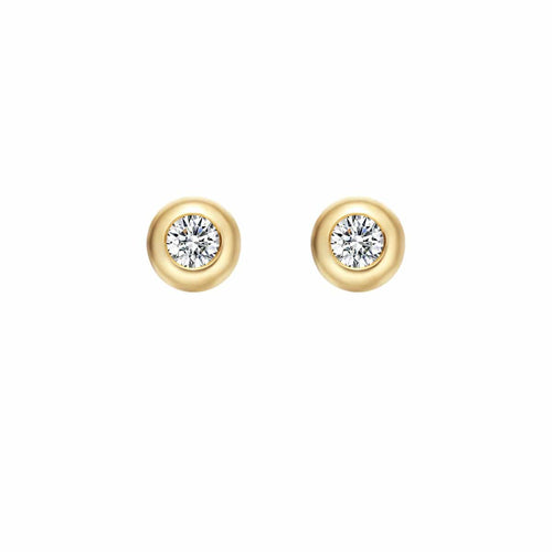 Mellow XS Round 18K Solid Gold Round Diamond Studs