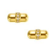18K Capsule Solid Yellow Gold Tiny Cute Diamond Earring Studs - FANCI ME